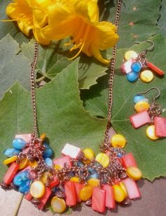 Summer's Coming Necklace and Earring set. Each mother of pearl shell hand wrapped by me and attached to copper chain.