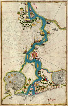 "'Map of the River Nile from its Estuary South' (c.1525) from the illuminated manuscript ""Book on Navigation"" (""Kitab-ı Bahriye"") by Turkish writer and Ottoman Admiral Piri Reis (1465-1555)."