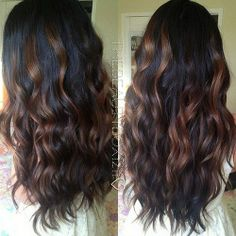 Hairstyle/Dark Brown With Caramel Highlights