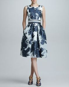 B26EQ Carolina Herrera Floral Jacquard Organza Dress, Blue