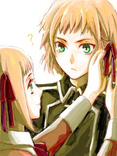 Hetalia Liechtenstein putting a bow on Switzerland :3 cute Also, I love how this artist draws eyes.