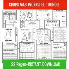 Christmas Worksheet Bundle Christmas Busy Book Homeschool | Etsy