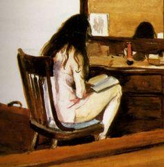 1925 Edward Hopper Interior, Model reading, Intérieur, modèle lisant, aquarelle…