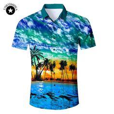 55a41d704fa 2018 New Men s Short Sleeve Hawaiian Shirt Summer Style Plam Tree Men  Casual Beach Hawaii Shirts