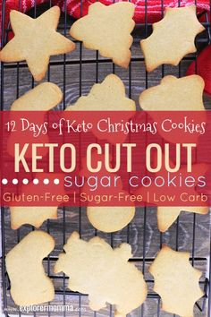 Keto Cut Out Sugar Cookies are so fun for kids and family activity at Christmas or any holiday. Buttery low carb cookies to hold the perfect holiday shapes. Keto Cookies, Cookies Et Biscuits, Healthy Sugar Cookies, Low Sugar Cookies, Baby Cookies, Heart Cookies, Chip Cookies, Desserts Keto, Keto Snacks