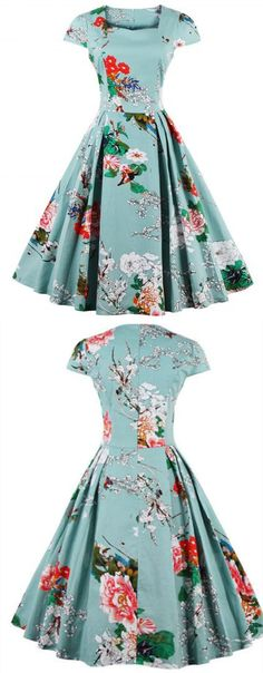 Vintage Retro Cape Sleeve Floral Print Sweetheart Neck Flare Dress