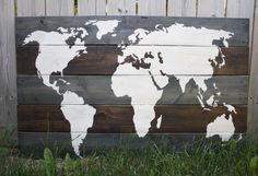Wood Plank World Map
