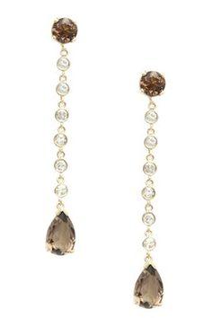 14K Yellow Gold Smokey Quartz & Diamond Rain Earrings