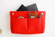 The Felt Purse Organizer is one of many adorable and functional products in the MochiThings collection. Fashion Handbags, Tote Handbags, Makeup Bag Organization, Felt Purse, Toiletry Bag, Clutch Bag, Pouch, Purses, Red Fashion