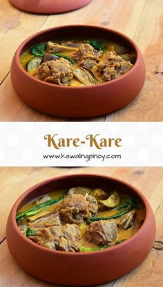 kare-kare is uniquely Filipino dish made with simmered oxtails, vegetables and peanut-based sauce Mehr Filipino Desserts, Filipino Recipes, Asian Recipes, Beef Recipes, Cooking Recipes, Filipino Food, Ethnic Recipes, Pinoy Recipe, Oxtail Recipes