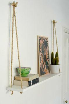Afbeeldingsresultaat voor hangende wandplank diy