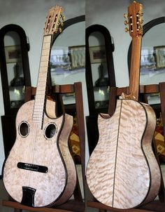 Bellucci Guitars, Curly Maple back and sides, Curly Maple top Concert Classical Guitar. Model: AM-SC-1
