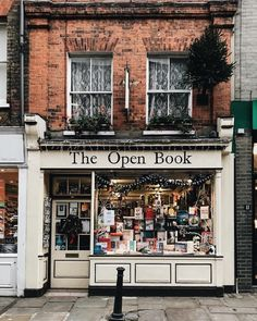 'The Open Book' bookstore storefront, perfect name, England City Aesthetic, Book Aesthetic, Aesthetic Pictures, Urbane Fotografie, Book Cafe, Belle Villa, Shop Fronts, Open Book, Book Nooks