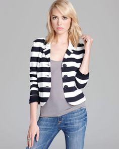 Bailey 44 Angelfish Striped Blazer Jacket Size M, Navy Blue Stripes, Rare #Fashion #Style #Deal