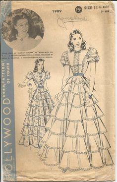 Your place to buy and sell all things handmade Gone With The Wind Scarlett O'Hara Vivien Leigh Rare Hollywood 1989 Flounced White Dress Unused FF Bust 36 Women's Vintage Sewing Pattern Vintage Dresses, Vintage Outfits, Vintage Fashion, Vintage Patterns, Scarlett O'hara, Vivien Leigh, Gone With The Wind, Movie Costumes, One Piece Dress