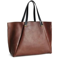 H&M Leather handbag (185 BRL) ❤ liked on Polyvore featuring bags, handbags, borse, purses, accessories, h&m, brown, genuine leather handbags, brown leather bag and leather hand bags