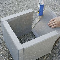 DIY concrete paver planter boxes.