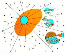 Atomic Mid Century Modern Bird Print Retro Art от COLBYandFRIENDS