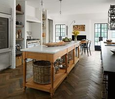 Country Club Tudor, Kitchen, Wood Kitchen Island With Marble Top, Steel Frame…