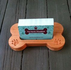 Business Card Holder Carved Wood Dog Bone Dog by TheHamlinWoodshop
