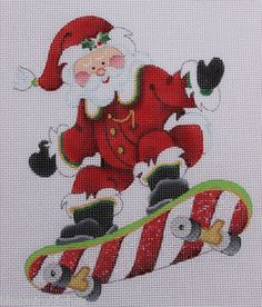 Holy crap this makes me laugh way to hard - Strictly Christmas Skateboard Santa Claus Hand Painted Needlepoint Canvas
