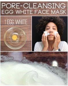 Pore-cleansing egg white face mask: 1 egg white, 1/2 teaspoon honey