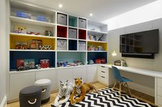 Playroom Perfection, designed to grow with you kids, full of fun patterns and cheerful on trend colours. For similar paint colours try the Zoffany paint collection. Laura Hammett, Kid Desk, Kids Bedroom, Kids Rooms, Bookcase, Home And Family, New Homes, Interior Design, House