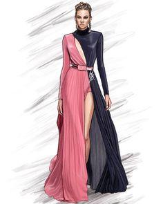 Modern Girl Fashion illustration Art by Marianna Bellini - Trendy Art Ideas Dress Design Drawing, Dress Design Sketches, Fashion Design Sketchbook, Dress Drawing, Fashion Design Drawings, Fashion Sketches, Fashion Design Illustrations, Clothes Design Drawing, Fashion Figure Drawing