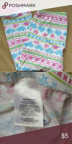 Nordic style girls pajama pants Flowers, hearts, stars and zigzags in a nordic pattern on these comfy pj pants.  Pink ankle cuffs.  Good used condition. Price is very flexible when bundled. Disney Pajamas Pajama Bottoms