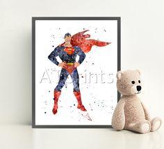 SUPERMAN Watercolour Art Print