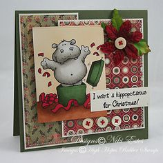 "I know I use the adjective ""cute"" a lot when I'm describing High Hopes stamps, but they just are! So, how about a cute hippo card today? *wink* As soon as I saw this hippo, it became one of my. Christmas Paper Crafts, Christmas Ideas, Hippopotamus For Christmas, Cute Hippo, High Hopes, Colouring Techniques, Birthday Cards, Birthday Ideas, Noel"