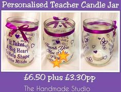 Large personalised candle jar  A perfect thank you teacher gift 📖✏️📖  We can do these in any colour and with your choice of wording.  £6.50 plus £3.30pp  #candle #tealight #thankyou #gift #teacher #support #personalised #teachingassistant #school #endofterm #child #present #thehandmadestudio #ccc #crafterscavern #smallbusiness #yorkshire