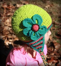 Crochet or Knit Winter Beanie Hat Cap with Flower and Earflaps---Newborn, Baby, Toddler, Child, Teen, Adult---Girl Woman Photo Prop. $32.00, via Etsy.