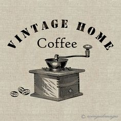 INSTANT DOWNLOAD Vintage Coffee Grinder Digital Image No.132  Iron-On Transfer to Fabric (burlap, linen) Paper Prints (cards, tags)