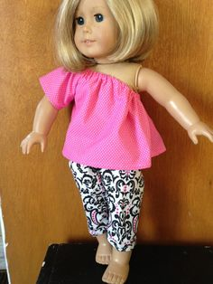 """Classic Girl Pink & Black Capri Outfit March Madness American Girl Outfit 18"""" Dolls on Etsy, $5.00"""
