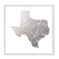 """Texas Map Filled"" - Foil-pressed Art Print by GeekInk Design"