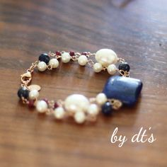 #Simply #Pretty #Double #layered #Rosegold #Bracelet with #LapisLazuli #Pearls and #Ruby..