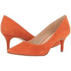 Nine West Margot (Orange Suede) High Heels ($71) ❤ liked on Polyvore featuring shoes, pumps, heels, slip-on shoes, orange shoes, high heel pumps, pointy toe pumps and orange pumps