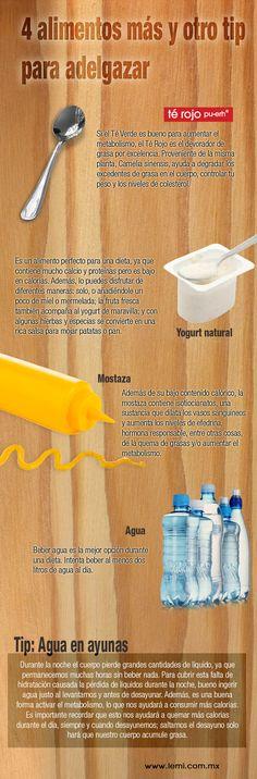 Infografía: 4 alimentos más y otro tip para #adelgazar. #salud y #belleza