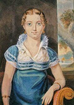 19th-century American Women: John Lewis Krimmel Paintings of Everyday Life Around Philadelphia 1810-1820  Woman in a Blue Dress c. 1815