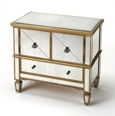Butler Specialty Company Celeste Mirror And Gold Console Cabinet 2613353 Mirrored Nightstand, Mirrored Furniture, Coastal Furniture, Black Furniture, Console Cabinet, New Cabinet, Console Table, Accent Chests And Cabinets, Mirror Cabinets