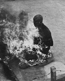 Buddhist monk immolates self in protest against Diem regime, 1963 (Vietnam War)