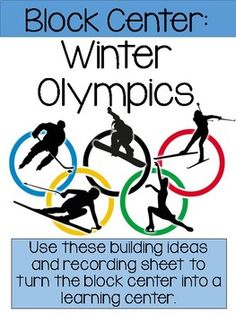 "Enhance your winter Olympic or winter sport theme with these fun Winter Olympic ideas in your block center. Kindergarten and Preschool Centers should be fun and educational. Use these ""I can build it"" cards and recording sheet to turn the block center"