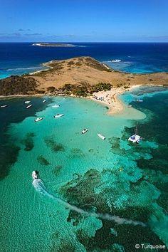 L'île de Pinel à Saint-Martin. Eaux turquoises et jolies plages.