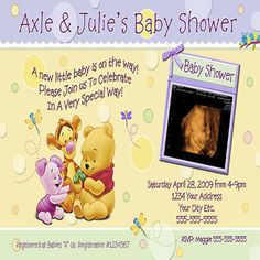 Winnie The Pooh Bear Baby Shower Invitation Cards