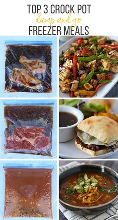 We've rounded up 3 amazing dump and go meals for the crock pot. Freezing instructions and shopping list included!  #freezercooking #freezermeals #makeaheadmeals #crockpot #slowcooker #recipes #dumpandgo