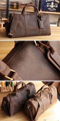 848e43df07 Vintage Leather Mens Large Weekender Bags Cool Travel Bag Duffle Bag f Mens  Travel Bag