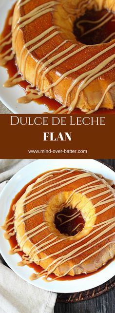 Flan, the Latino version of custard con más sabor! The custard base in this Dulce de Leche Cheesecake Flan is blended with silky sweet dulce de leche and a healthy dose of warm ground cinnamon. Just Desserts, Delicious Desserts, Yummy Food, Custard Desserts, Baking Desserts, Mexican Food Recipes, Dessert Recipes, Mexican Desserts, Flan Cake