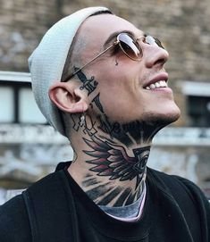Neck Tattoos for Men: There are many tattoo designs that easily grab attention. Also, there are various body areas where tattoos look more attractive and always visible Tattoo Girls, Neck Tattoo For Guys, Cool Tattoos For Guys, Tattoo Designs For Girls, Girl Tattoos, Mens Face Tattoos, Facial Tattoos, Finger Tattoos, Body Art Tattoos