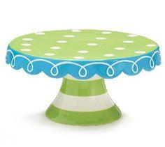 Aqua Breeze hand painted ceramic cake X 11 Diameter for cake. Painted Ceramic Plates, Ceramic Teapots, Hand Painted Ceramics, Pottery Painting, Ceramic Painting, Ceramic Art, Pottery Plates, Ceramic Pottery, Painted Pottery